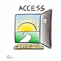 Graphic of a setting sun and the word access