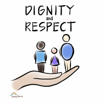 Graphic of three stick figures and the words dignity and respect