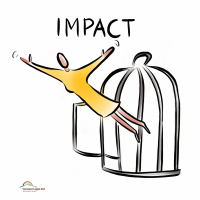 Graphic of a person flying out of a birdcage and the word impact