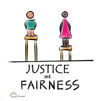 Graphic of two people on stools at same height and words justice and fairness
