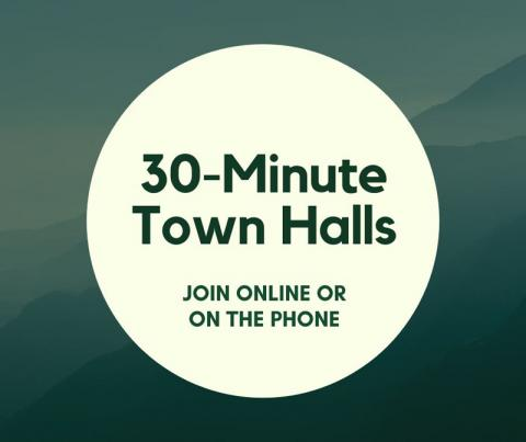 """Graphic that says """"30-minute town halls. Join online or by telephone."""""""
